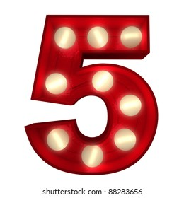 3D rendering of a glowing number 5 ideal for show business signs (part of a complete alphabet)