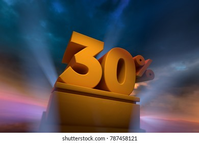 3D rendering of gold 30 Percent text on podium with dramatic sky