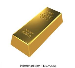 3D Rendering Gold bar on white background