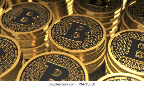 3D rendering of a gold coin similar to Bitcoin, blockchain technology for cryptocurrency. 3D illustration