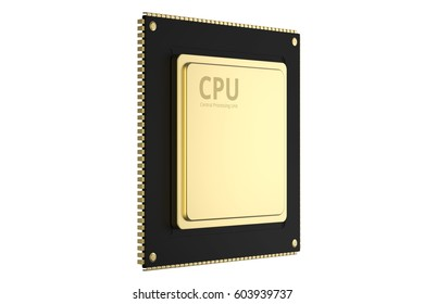 3d rendering gold cpu chip isolated on white