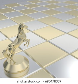 3d rendering gold metallic horse on chess board