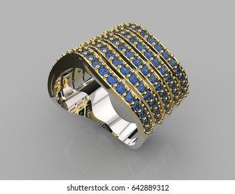 3d rendering of  gold and platinum ring