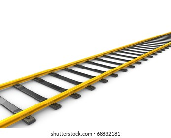 3d rendering Gold railway track, isolated on white background.