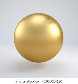 3d rendering gold sphere isolated on white background