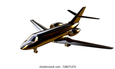 3d rendering of a golden airplane on isolated on a white background