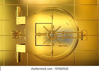 3d rendering golden bank vault on golden wall