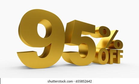 3D rendering golden discount 95 percent off on white background