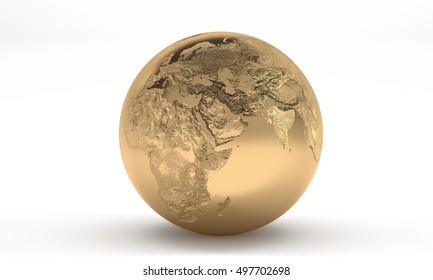3D rendering of golden earth pointing at Asia