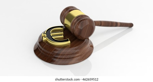 3d rendering golden euro symbol and an auction gavel