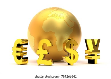 3D rendering of golden global currency symbols plus bitcoin sign around golden world globe