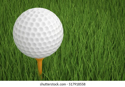 3d rendering golf ball on tee with green grass