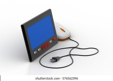 3d rendering of Gprs screen connected with computer mouse