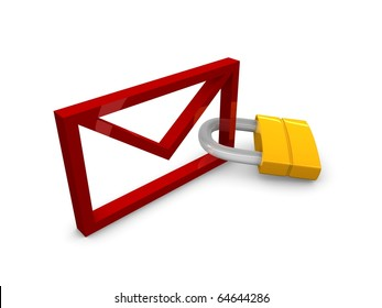 3D rendering, graphic concept email with padlock, isolated over white background.