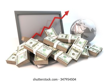3D rendering graphic design is 100 dollar bills as heap on computer and arrow chart of business with globe, Rendered at high resolution on a white background.