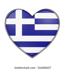 3d rendering of a Greece flag on a heart. White background