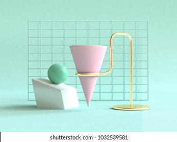3d rendering green background geometric shape abstract still life scene pink green gold