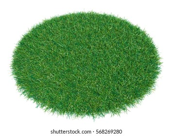 3d rendering of green grass arena, isolated on white background. Empty space for your product or text