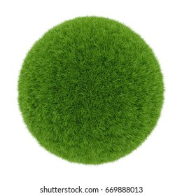3D rendering Green grass sphere isolated