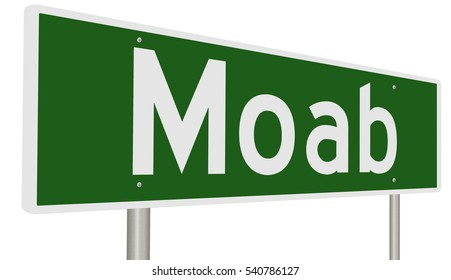 A 3d rendering of a green highway sign for Moab, Utah