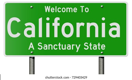 A 3d rendering of a green highway sign for California a Sanctuary State