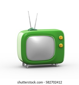 3d rendering of green stylish cartoon television tv set with knob
