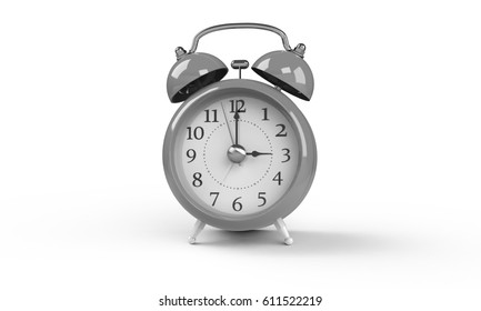 3d rendering of grey gray white Alarm clock isolated on white. It shows exact time and has two bells. metal legs. hour minute alarm hands