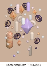 3d rendering of a group of abstract objects. Wooden,glossy plastic and shiny metal materials. Composition with spheres, donuts, capsules and octahedrons. Beige background.