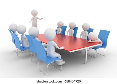 A 3D rendering from a group of clay characters  in a meeting room where one participant is sleeping.