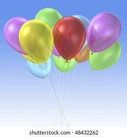 3d rendering of group of colorful balloon