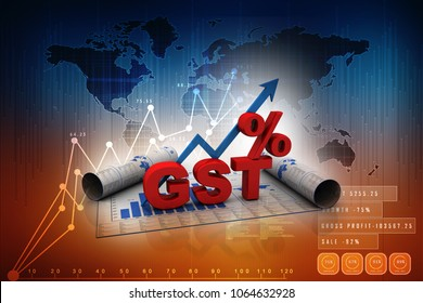 3d rendering GST Tax India with percentage