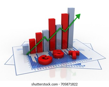 3d rendering GST Tax India with business graph
