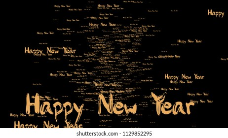 The 3d rendering of happy new year with nice gold color