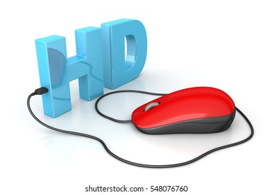 3D rendering of Hd text connected with computer mouse