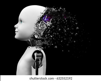 3D rendering of the head of a child robot. The head is breaking apart like it's exploding. Black background.