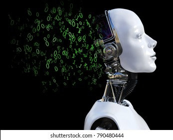 3D rendering of the head of a female robot. The head is breaking apart with zeros and ones coming out of it. Black background.