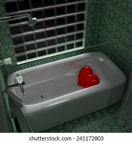 3d rendering Heart in the bathtub.