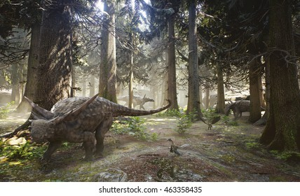 3D rendering of a herd of Sauropelta dinosaurs grazing in a woodland forest.