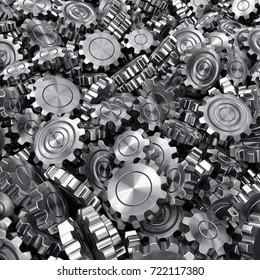3d rendering high quality metallic shiny gears