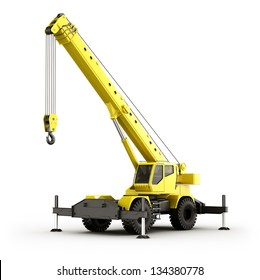 3d rendering of a highly realistic mobile crane.