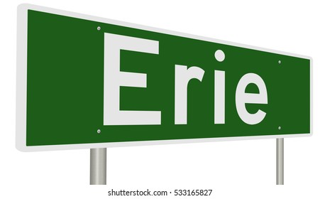 A 3d rendering of a highway sign for Erie, Pennsylvania