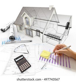 3D rendering Home Architecture model on top of a table with mortgage application form, calculator, blueprints, etc..