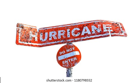 3D rendering of horizontal damaged hurricane board on a pole with circular do not enter board
