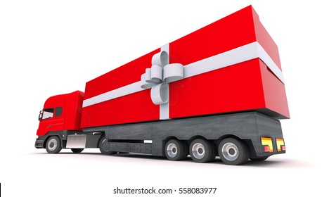 3D rendering Huge red truck with a white present bow around it