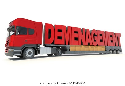 3D rendering Huge trailer truck carrying the letters forming the French word Demenagement, meaning moving