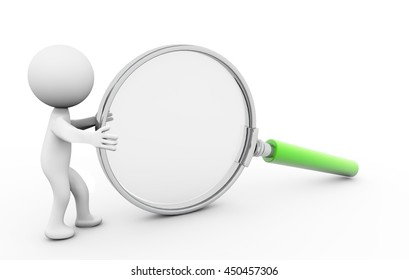 3D Rendering Human character  examines through a magnifying glass