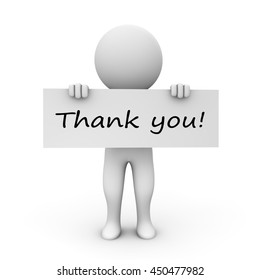3D Rendering Human Character holding thank you board