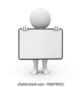 3D Rendering Human Character holding a blank board