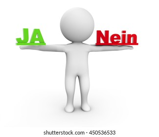 3D Rendering Human Character holding Ja and Nein
