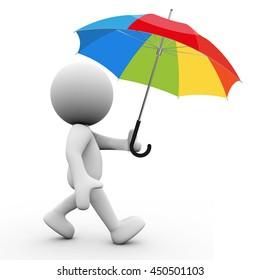3D Rendering Human Character with umbrella